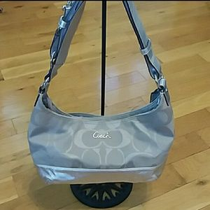 Coach signature pieced east-west duffle silver